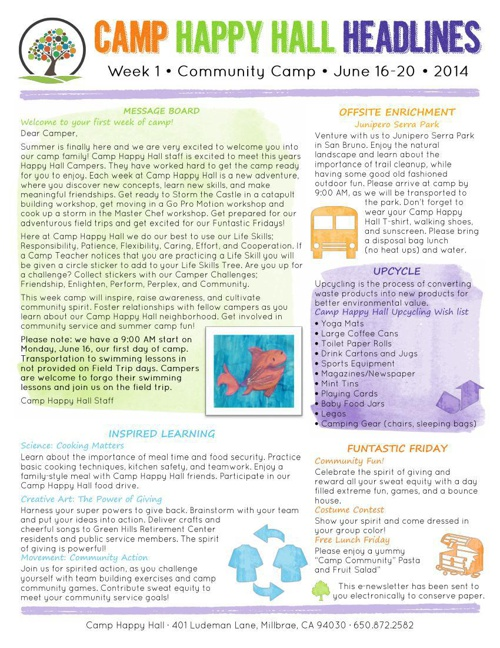 2014 Camp Newsletters