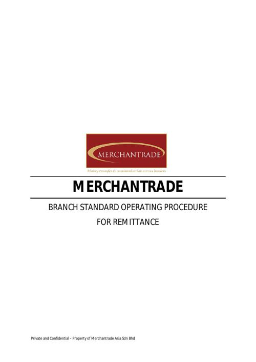 Branch SOP for Remittance (Intro)