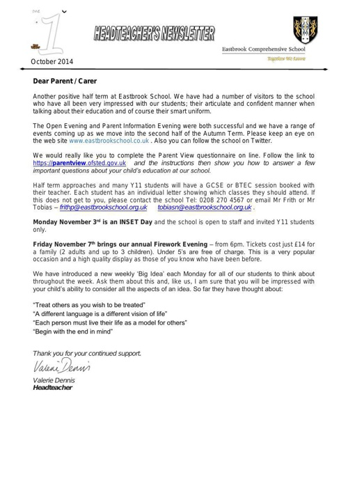 Eastbrook Newsletter 1 - Oct 2014