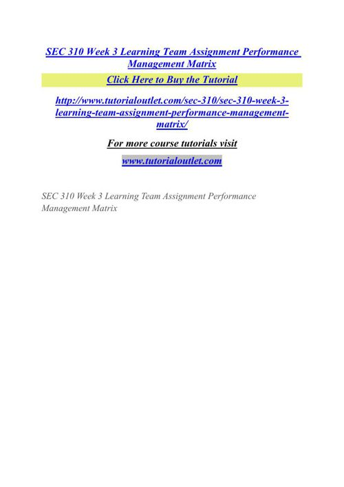SEC 310 Week 3 Learning Team Assignment Performance Management M