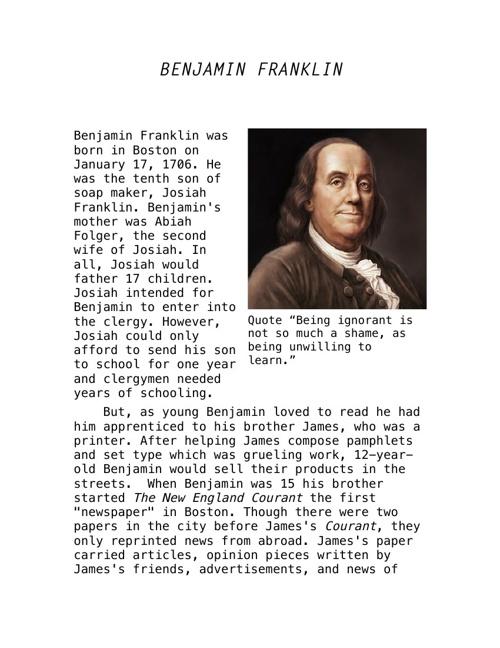Benjamin Franklin Biography