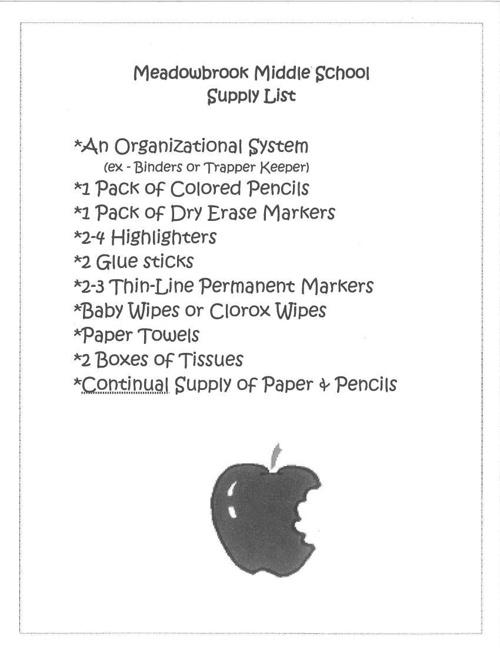 MMS Supply List