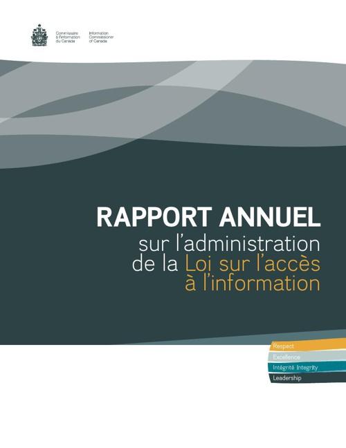 Rapport annuel sur l'administration de la Loi sur l'accès à l'in