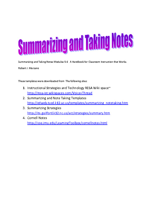 Summarizing and Note Taking Strategies/ Templates