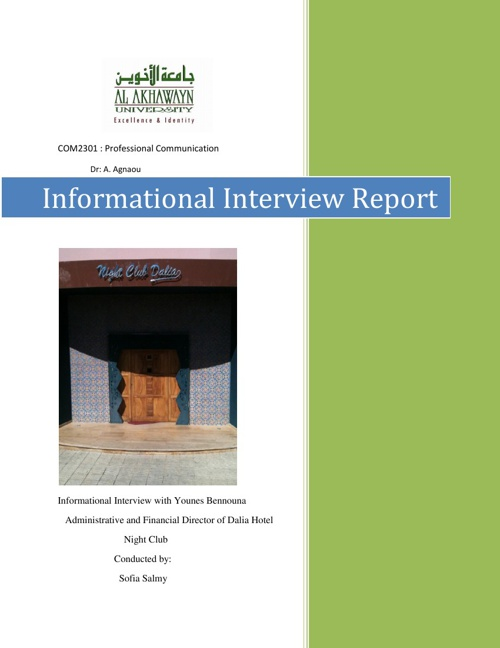Informational Interview Report