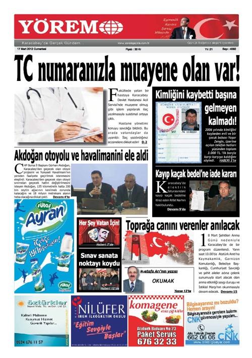 Yörem Gazetesi / 17 Mart 2012 / Cumartesi