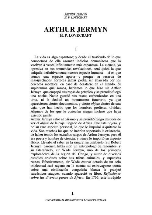 H. P. Lovecraft - Arthur Jermyn