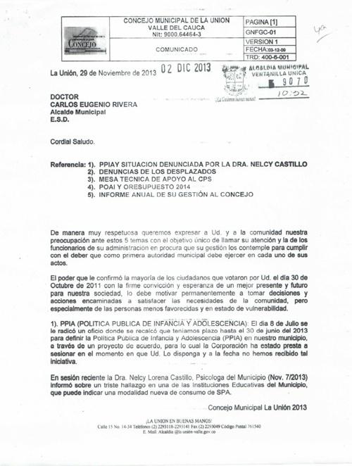 OFICIO AL SR ALCALDE DE LA MESA DIRECTIVA 2013