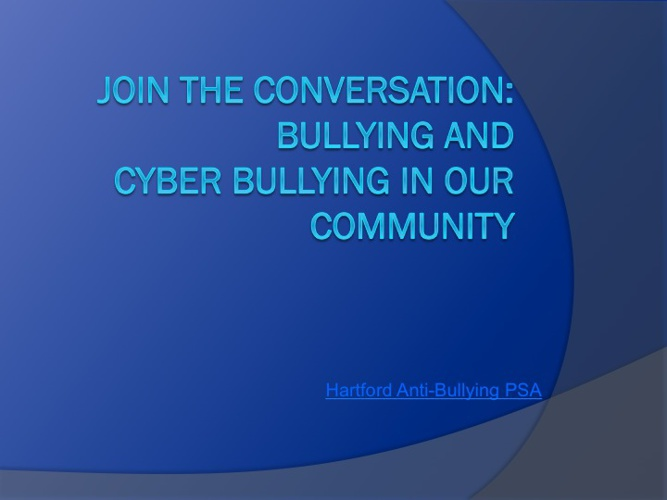 Community discussion on bullying prevention 10/21/13