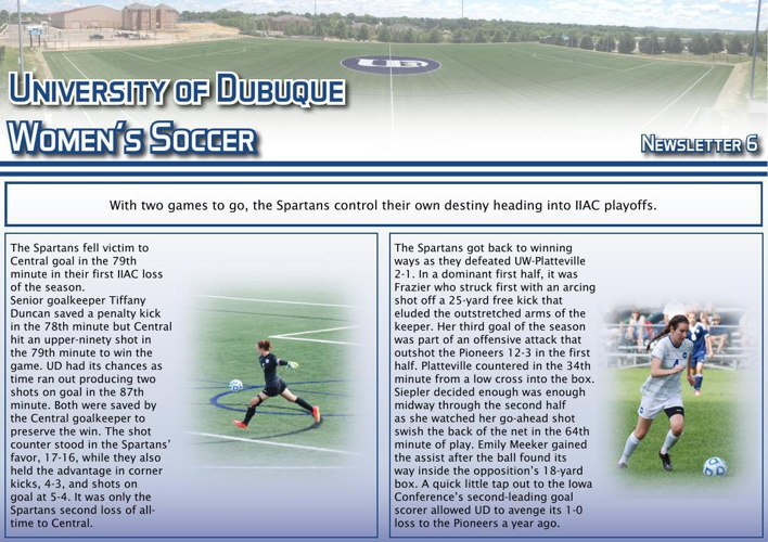 University of Dubuque Women's Soccer 2014 Newsletter: Issue 6