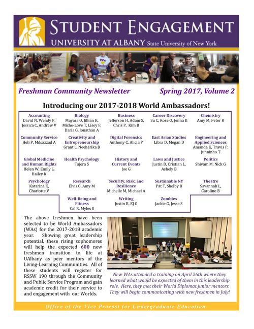 Freshman Community Newsletter: Spring 2017, Volume 2