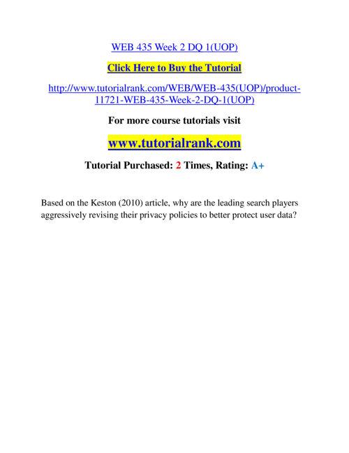 WEB 435 Slingshot Academy / Tutorialrank.Com