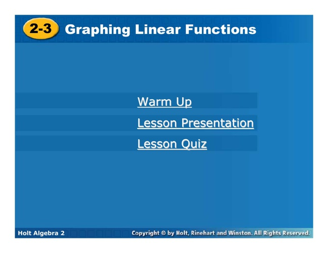 Graphing Linear Functions ALG2