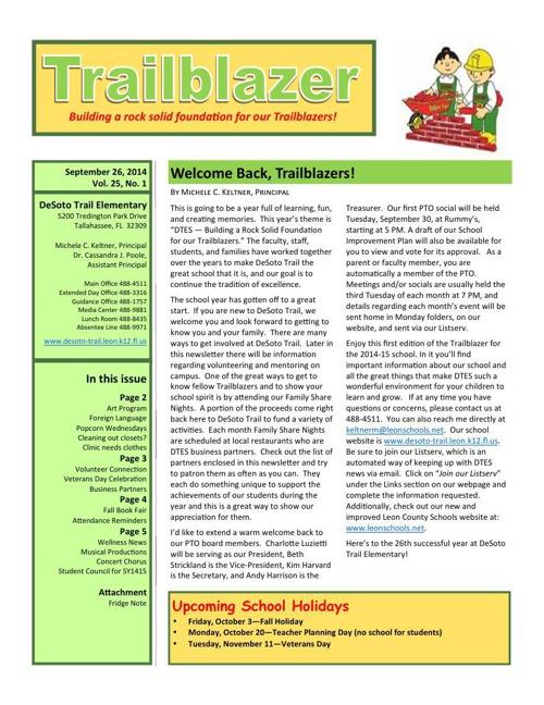 September Trailblazer Newsletter