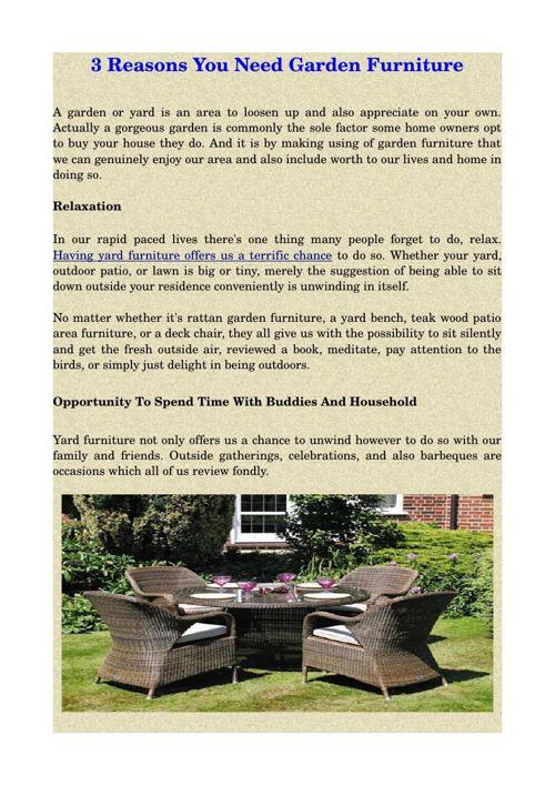 3 Reasons You Need Garden Furniture