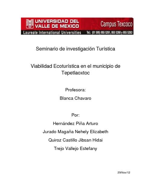 Viabilidad Ecoturística en el Municipio de Tepetlaoxtoc