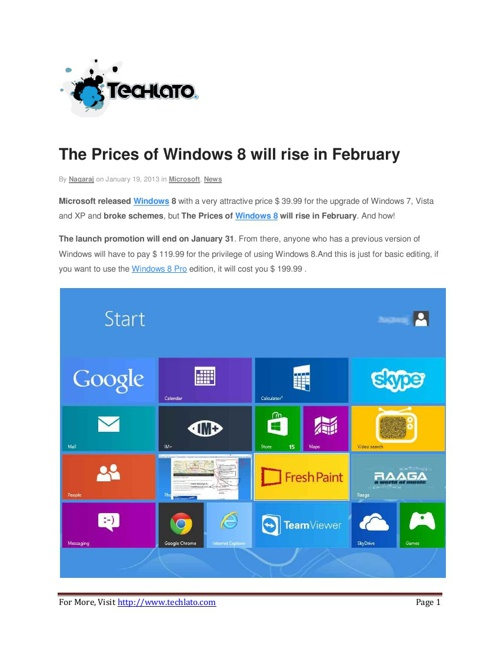 The Prices of Windows 8 will rise in February