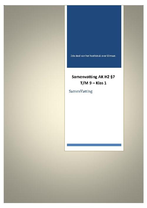 SamenVatting - Aardrijkskunde - Klas 1