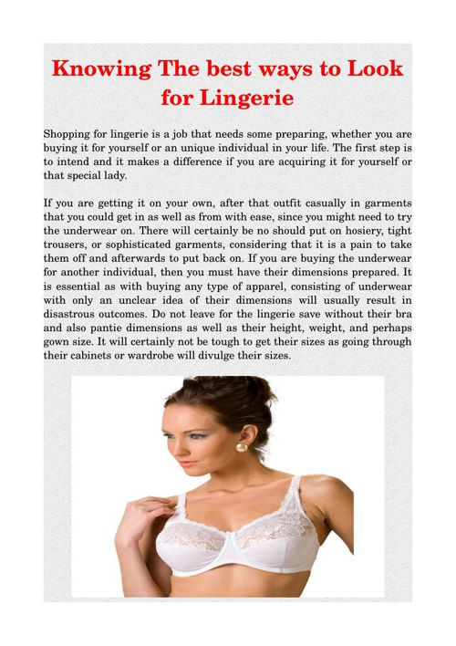 Knowing The best ways to Look for Lingerie