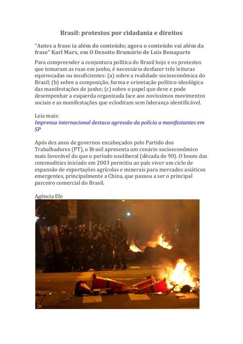Brasil protestos por cidadania e direitos