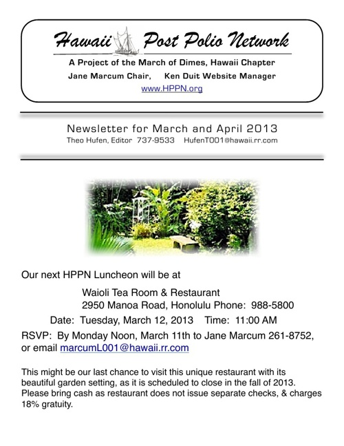 2013 March + April Newsletter