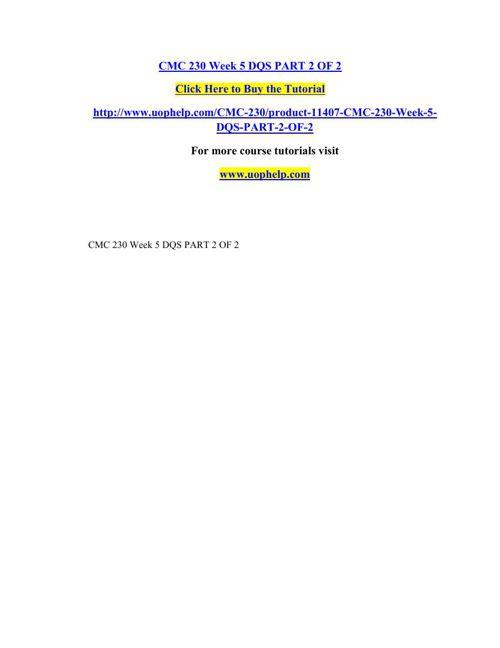 CMC 230 Week 5 DQS PART 2 OF 2
