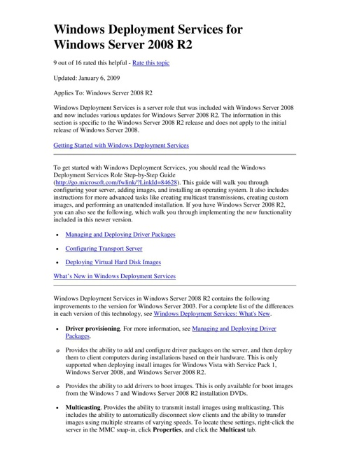 Windows Deployment Services for Windows Server 2008 R2