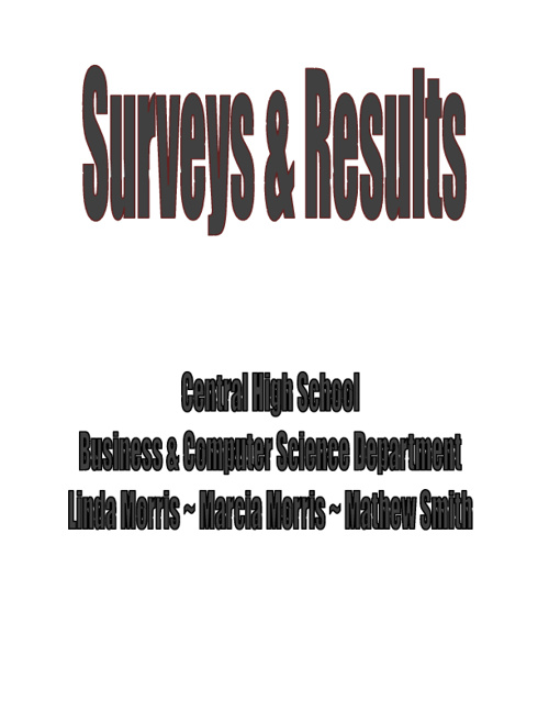 Needs Assessment Survey ~ Business & Industry & 7th Grade Intere