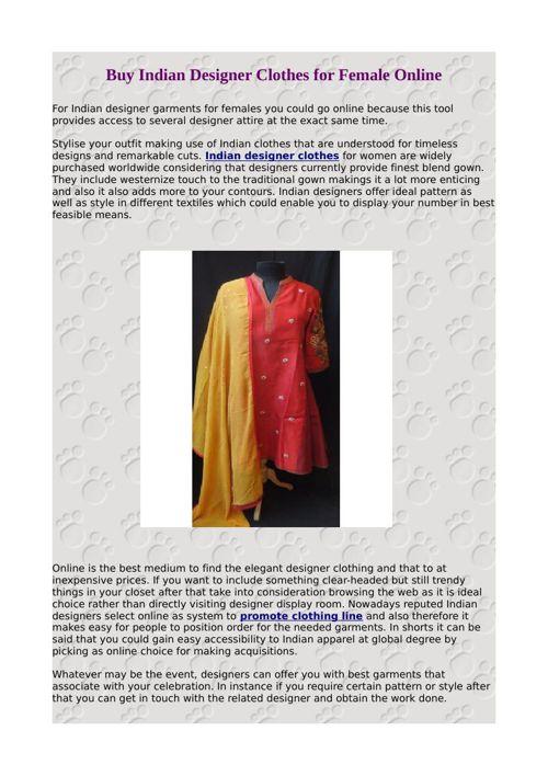 Buy Indian Designer Clothes for Female Online