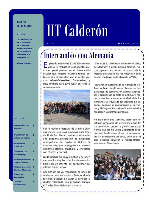Boletín de marzo del IES Calderón de la Barca