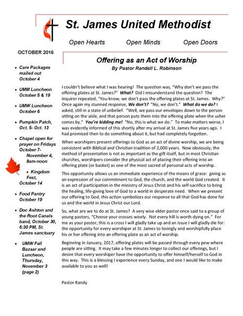 October 2016 Newsletter