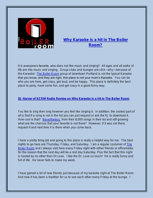 DJ Harver of KCRW Radio Review on Why Karaoke is a hit in The Bo