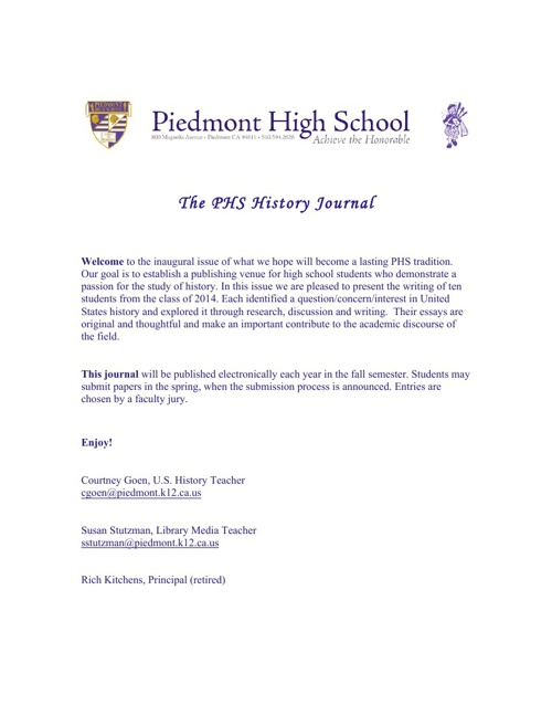 The PHS History Journal