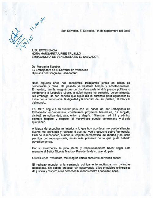 Carta presentada en embajada de Venezuela en El Salvador