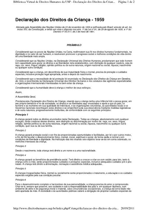Declaração - Direitos da Criança