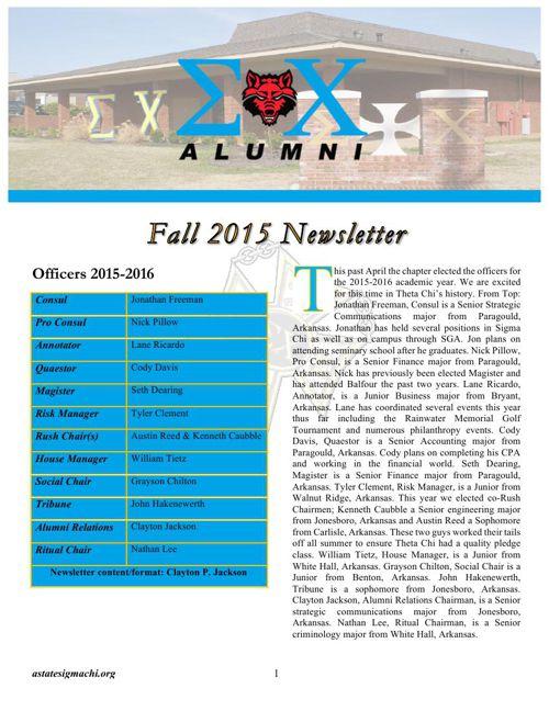 2015 Sigma Chi Theta Chi Newsletter