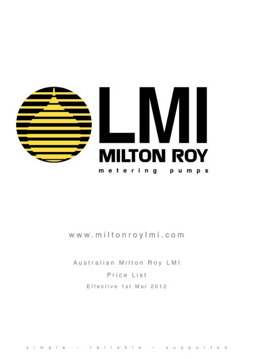 Milton Roy Metering pumps AUD Price list