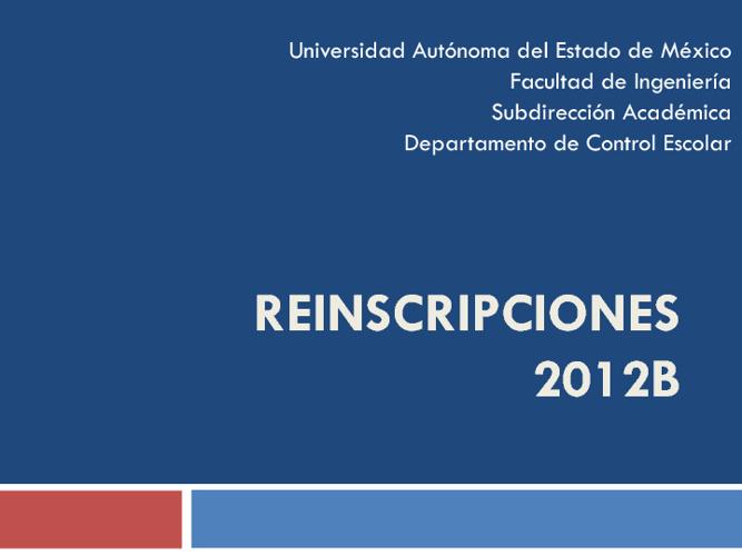 Reinscripciones 2012B