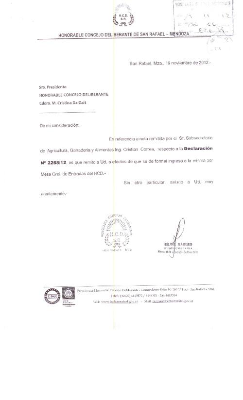 Respuesta a pedido de informe sobre Lucha Antigranizo