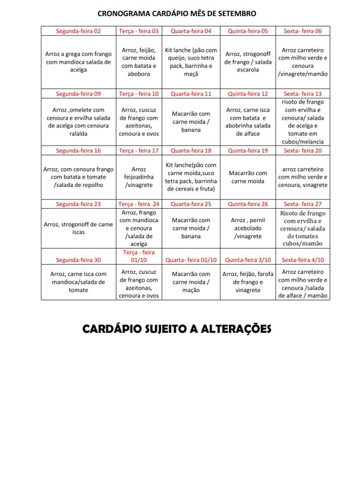 CARDÁPIO MÊS DE SETEMBRO