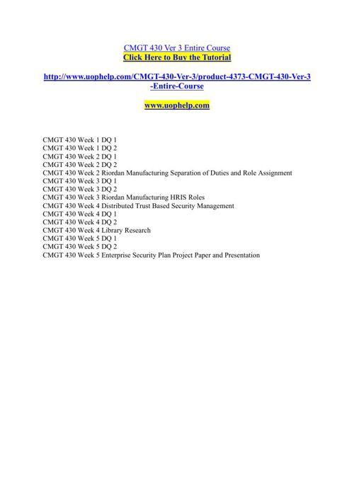 CMGT 430 Ver 3 Entire Course