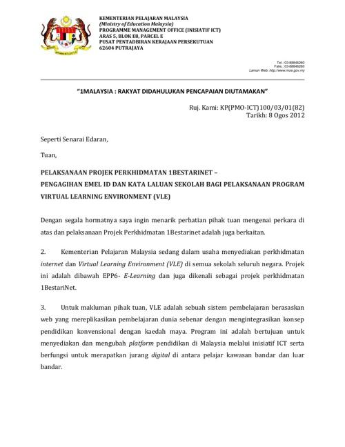 Surat & Manual Pengagihan E-mel ID dan Kata Laluia VLE