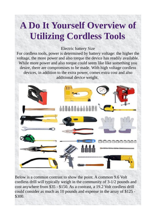A Do It Yourself Overview of Utilizing Cordless Tools