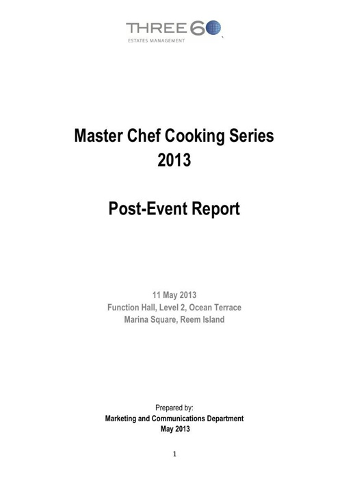 Post-event Report for the Master Chef Cooking Series - Marina Sq