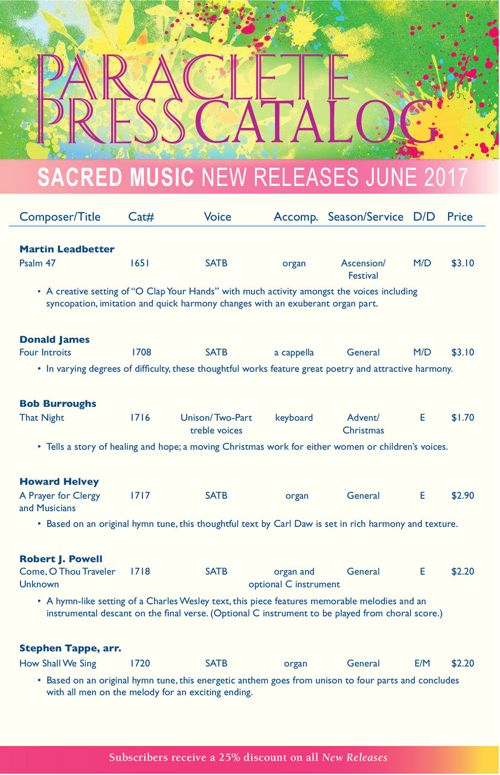 Paraclete Sheetmusic June 2017 New Releases