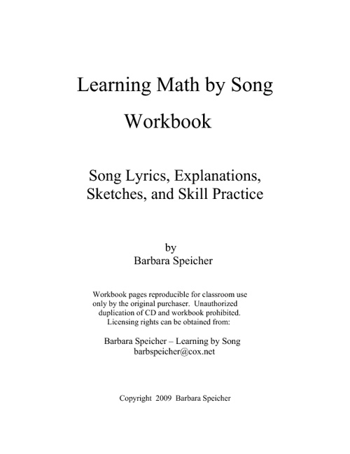 Math Song Workbook