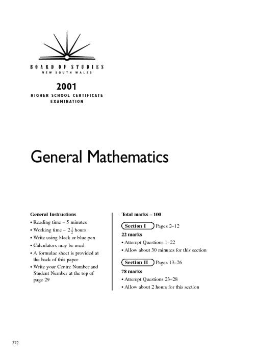 2001 hsc exam parts
