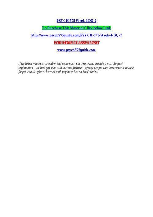PSYCH 575 Week 2 DQ 2