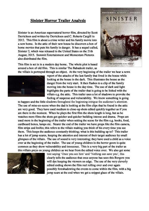 Sinister Horror Trailer Analysis