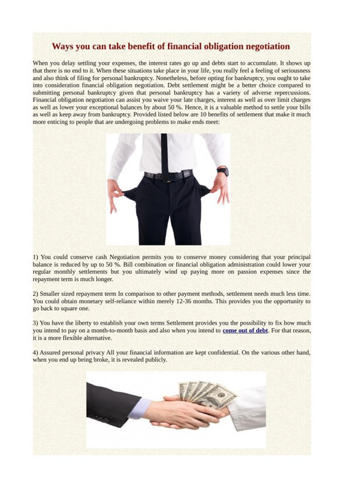 Ways you can take benefit of financial obligation negotiation
